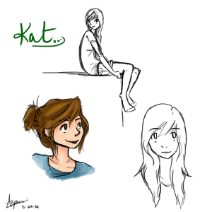 Meet Kat! These are just a few rough sketches I did today in the standard rough-character-concept-sketch clothes I use. All artwork © me, please don't steal!