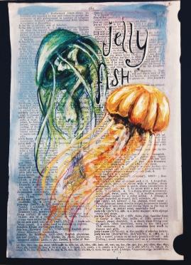 Jellyfish // colored pencil & acrylic